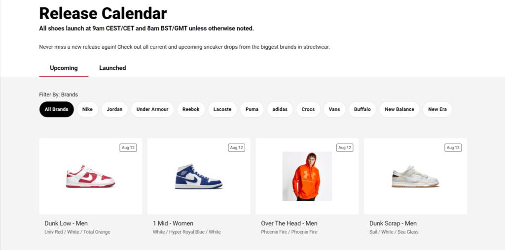 Foot Locker release calendar