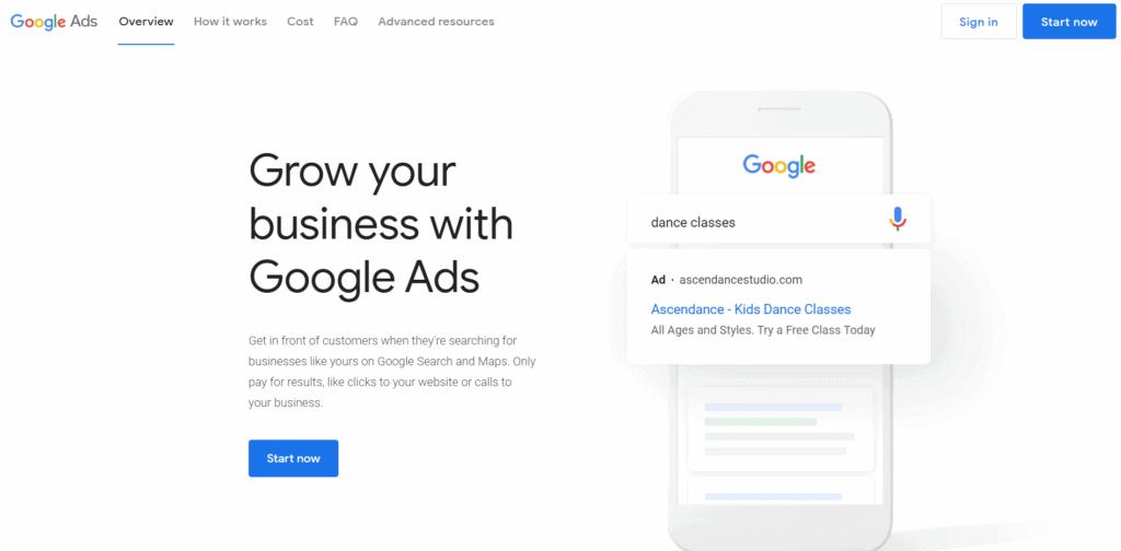 Google advertisements homepage