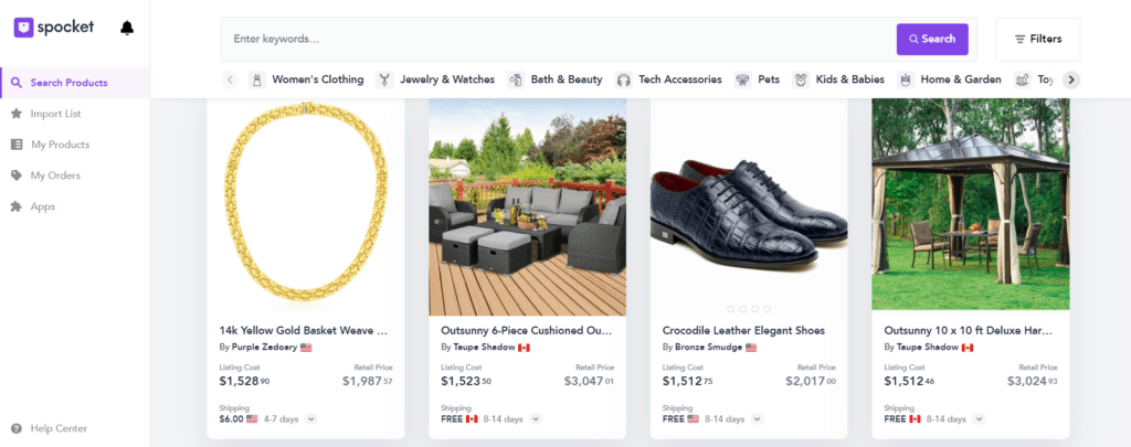 High-ticket dropshipping products on Spocket