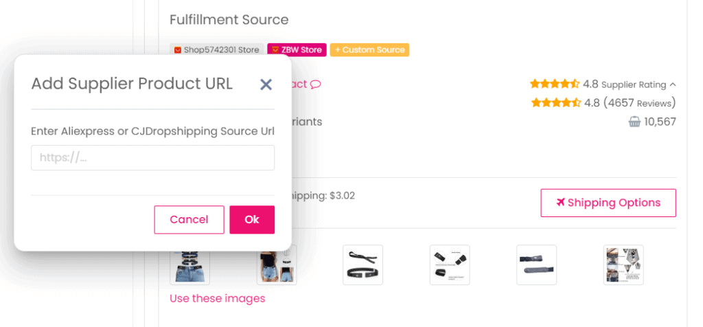 Add your own supplier product URL