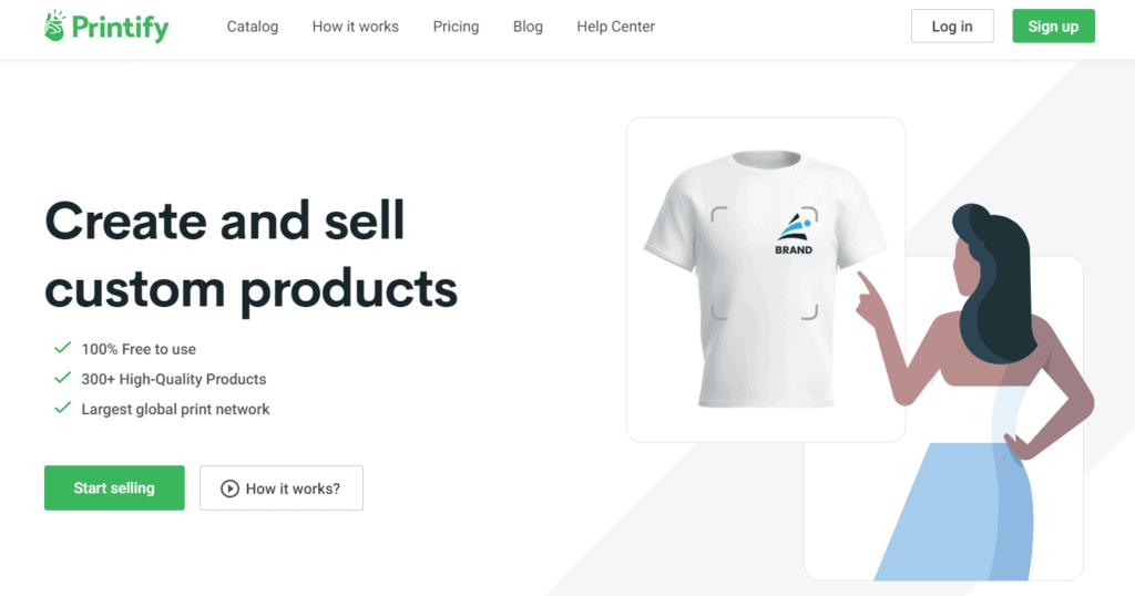 Homepage of Printify