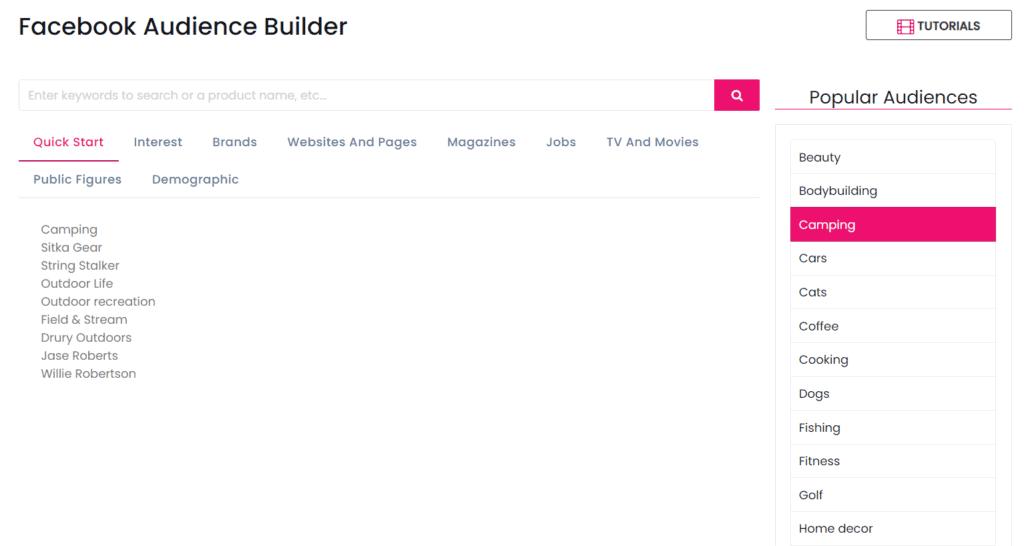 Facebook audience builder example