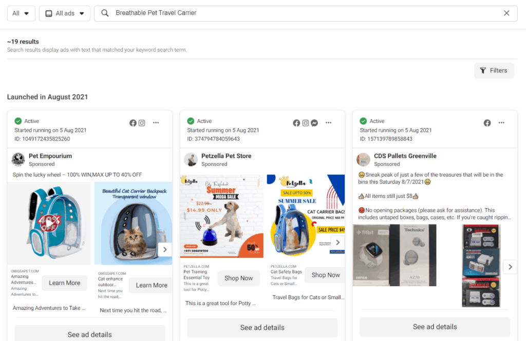 Facebook Ad examples for that product