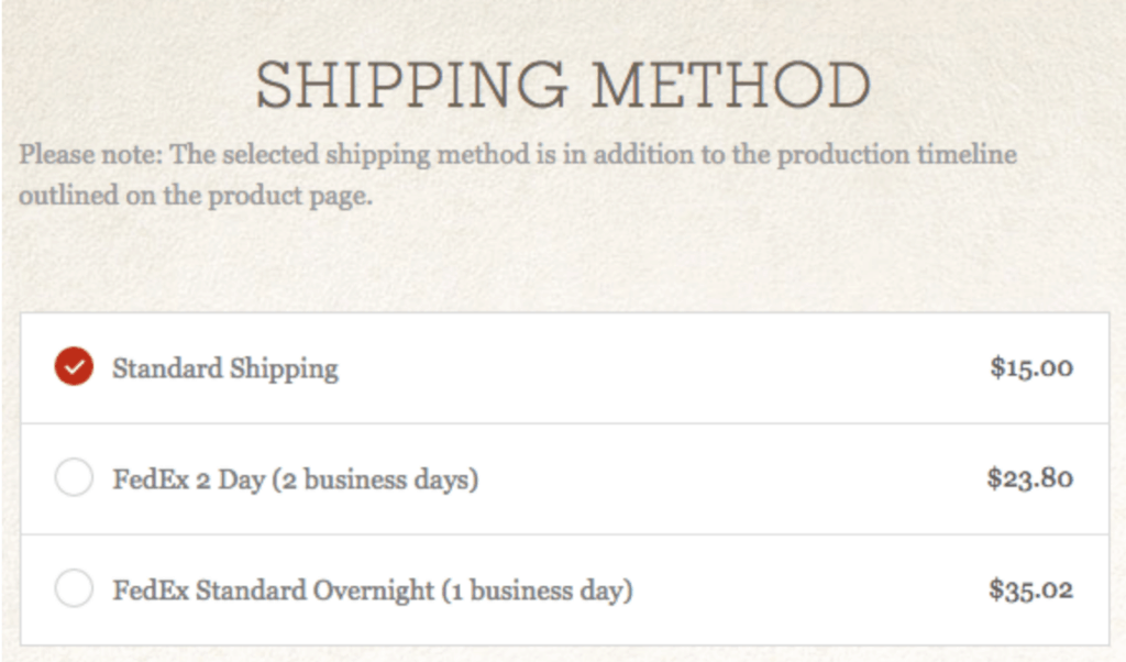 Shopify shipping options