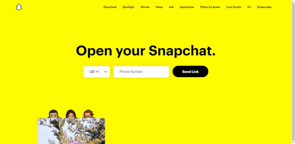 Snapchat homepage