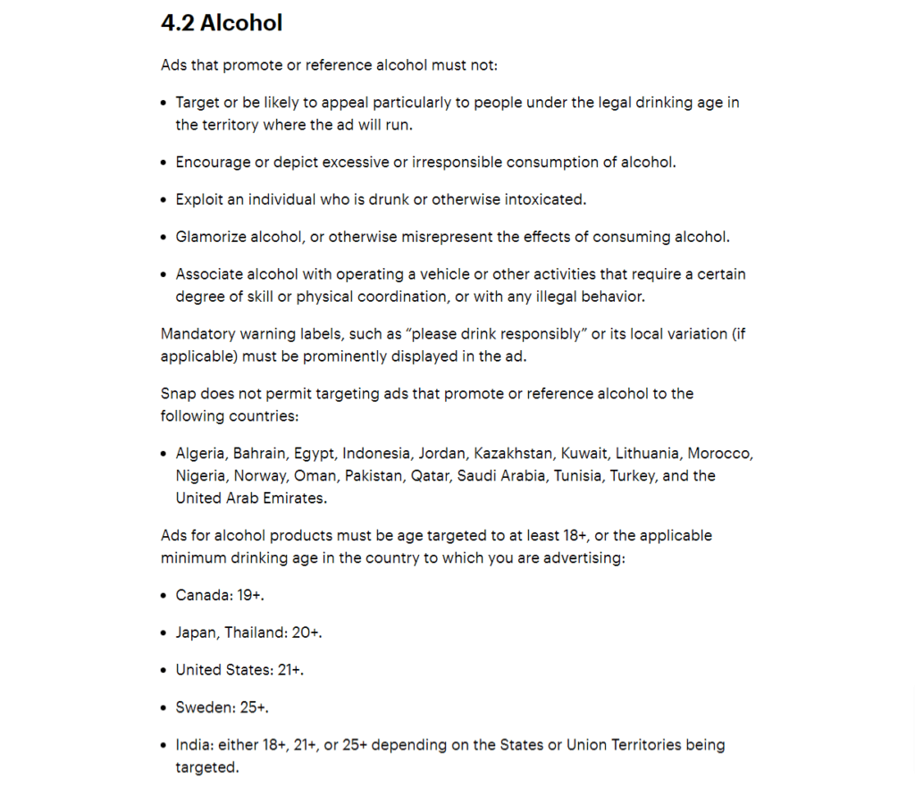 Snapchat's ad policy regarding the promotion of alcohol