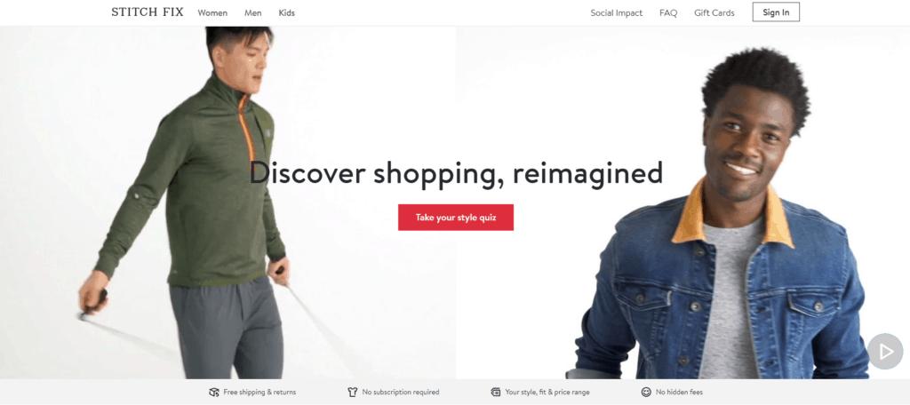 Stitch Fix homepage