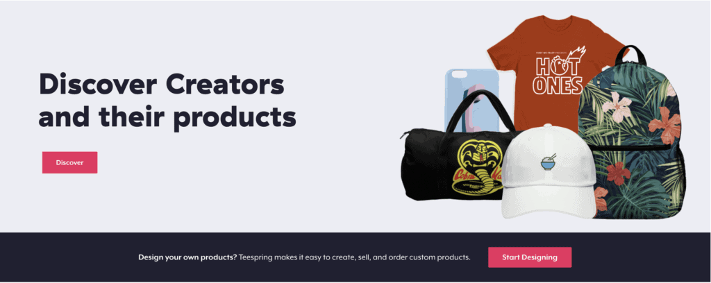teespring homepage print products
