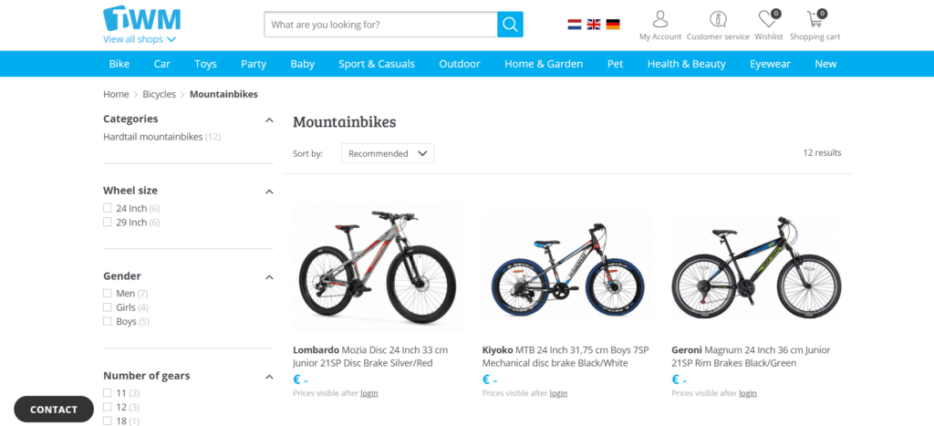 A selection of mountainbikes offered by TWM