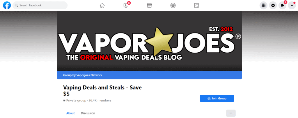 Example of a vaping Facebook Group