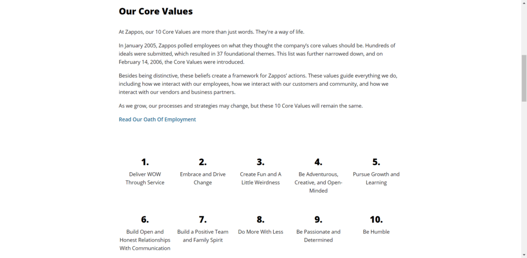 The 10 core values of Zappos