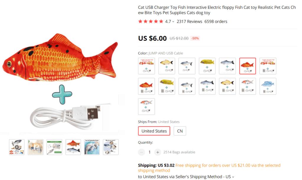 Floppy fish cat toy AliExpress