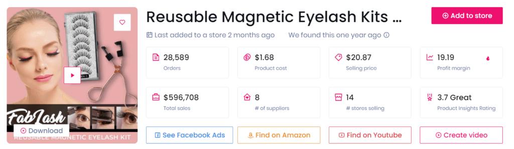 Low-ticket dropshipping product example eyelash kits