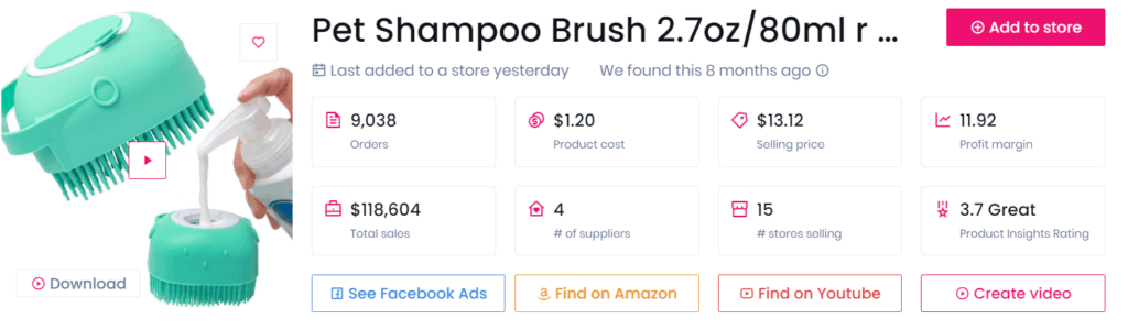 Low-ticket dropshipping product example pet shampoo brush