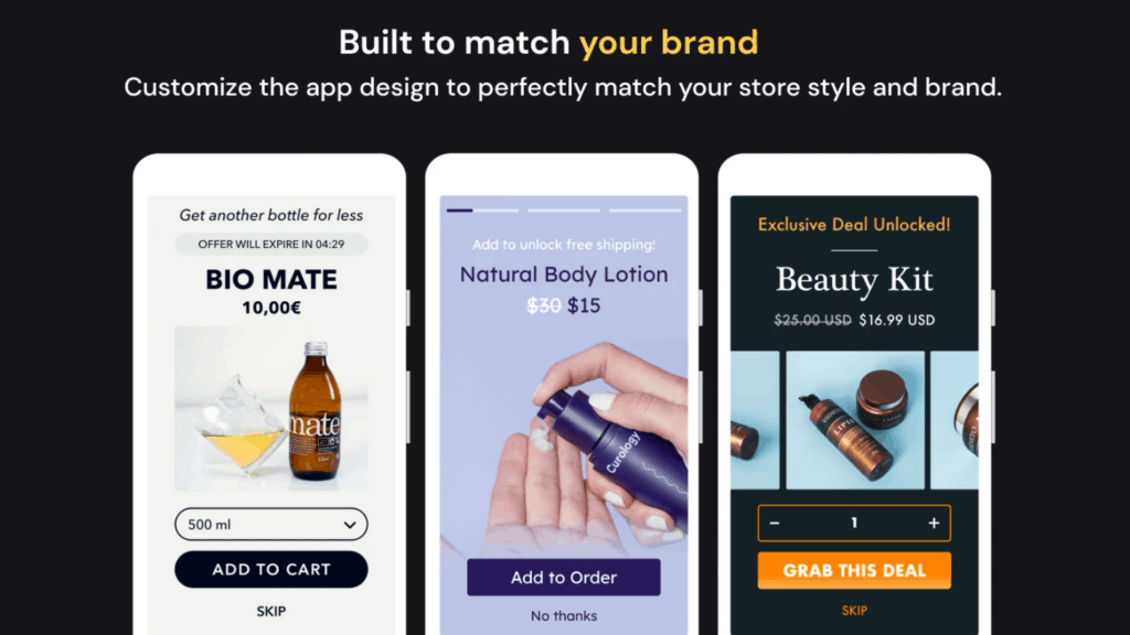 Upsell examples by the Shopify app Honeycomb
