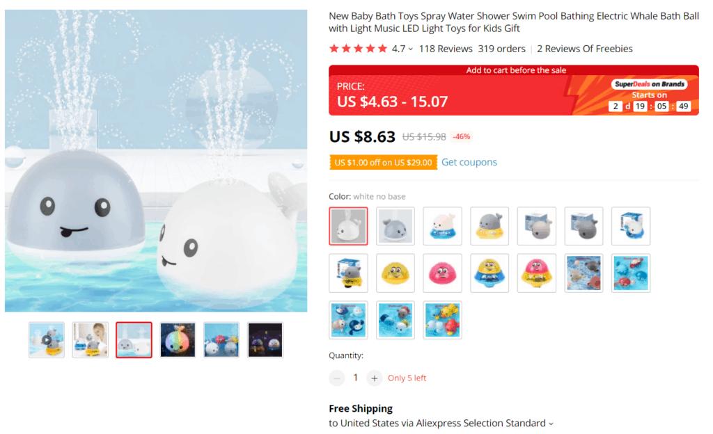 Whale bath toy AliExpress